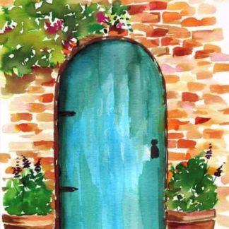 kék színű rusztikus ajtó