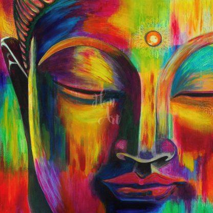 színes buddha portré