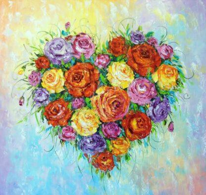 szív alakú virágcsokor festmény