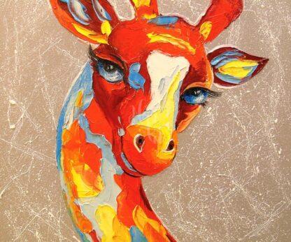 színes zsiráf portré