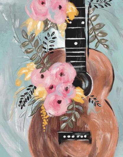 gitár virágokkal