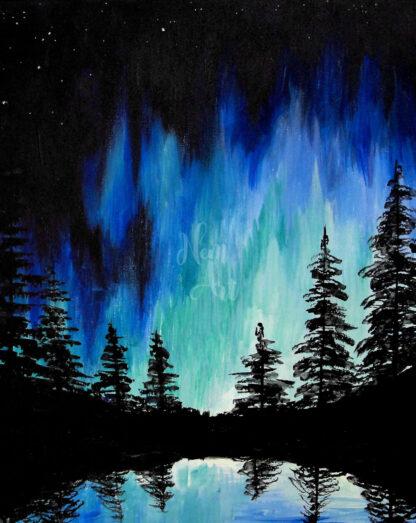 kéken fénylő erdő