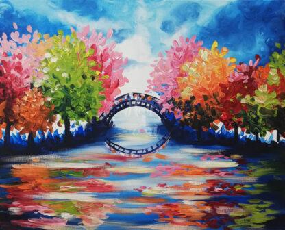 színes festmény híddal