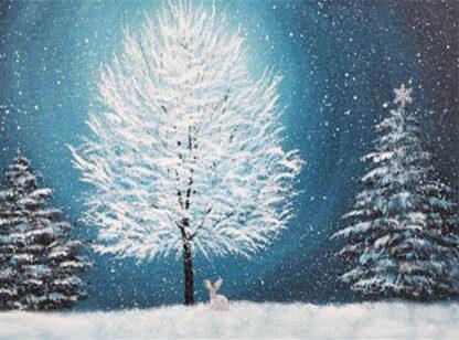 nyuszi ül a hóban