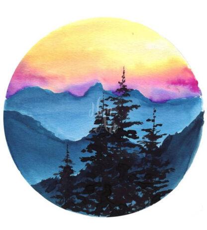 hegyi latkép naplementében