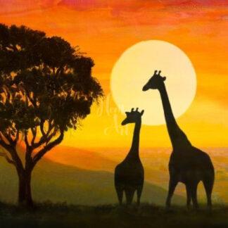 két zsiráf naplementében