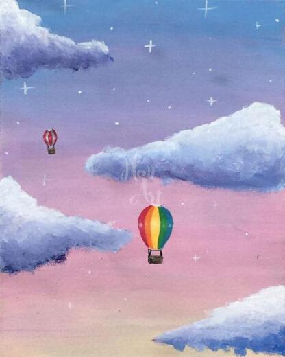 hőlégballon a felhők között