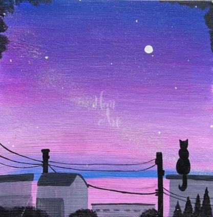cica ül a háztetőn