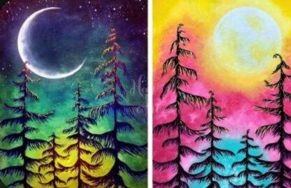 tájképek nappal és éjszaka