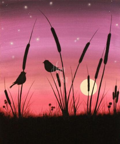rózsaszín napnyugta madarakkal