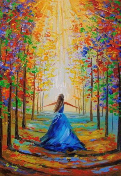 lány sétál az erdőben