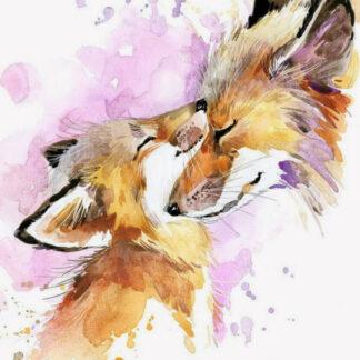 a képen két róka bújik össze