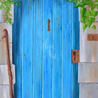 a kép egy kék színű fa ajtót mutat