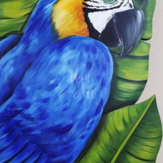 a kép egy kék színű ara papagáj festményt mutat