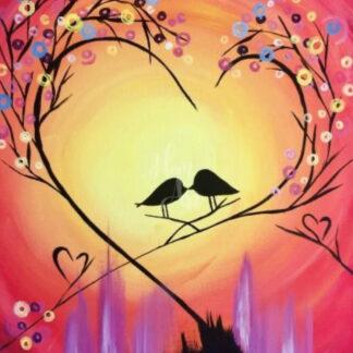 a fénykép szív alakú ágakat és két madarat ábrázol