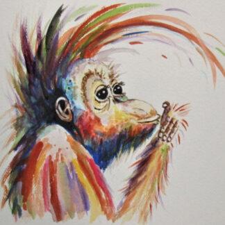 a kép egy orángután portré festményét mutatja