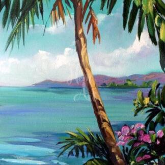 a fénykép egy tengerparti festményt mutat pálmafával