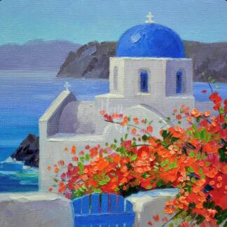 A fénykép Santorini görög falu látképét ábrázolja.