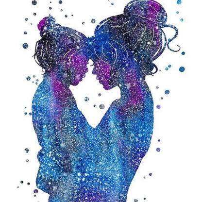 a kép tartalma anyuka, kislány, absztrakt galaxis