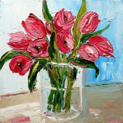 a kép tartalma tulipáncsokor, váza, asztal