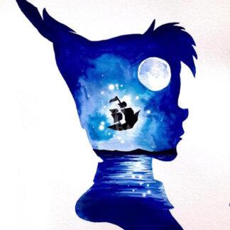 a kép tartalma: Pán Péter sziluett, hajó, hold, víz