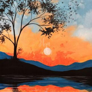 A kép tartalma: fa, tó, naplemente, dombok