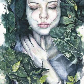 a kép tartalma: női portré, leveles ágak