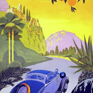 a kép tartalma: vintage autó, út, fák, hegyek