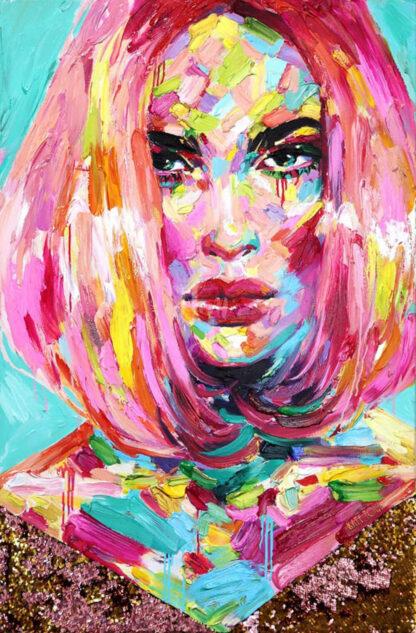 a kép tartalma: női portré, szines foltok