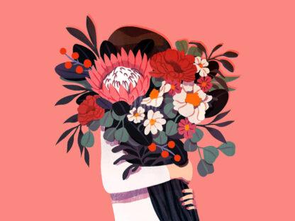 a kép tartalma: virágcsokor, ember, színes virágok