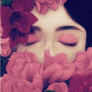 a kép tartalma: női arc, rózsaszín virágok, szemek
