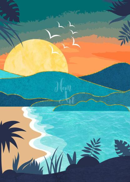 a kép tartalma: homokos tengerpart, pálmafák, dombok, kék tenger, nap, madarak
