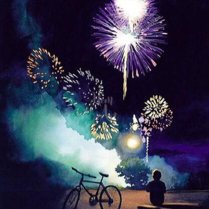 a kép tartalma: színes tűzijáték, kerékpár, ember