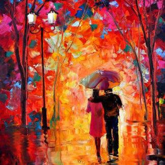 a kép tartalma: szerelmes pár, esernyő, fák, őszi színek, sétány