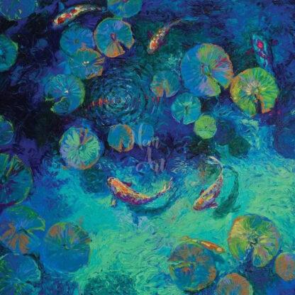a kép tartalma: tó, aranyhalak, vízi növények