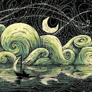 a kép tartalma: éjszaka, hold, vitorlás, felhők