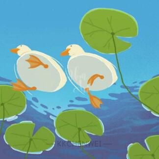 a kép tartalma: 2 kacsa, víz, növények