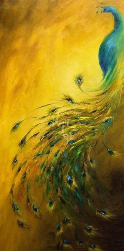 a kép tartalma: páva, arany háttér