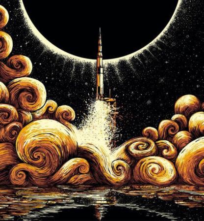 a kép tartalma: rakéta, füstfelhők, bolygó